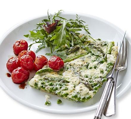 Asparagus, pea & feta frittata with roast tomatoes