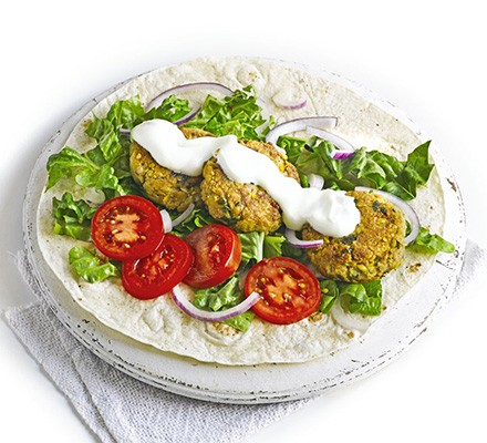 Lamb & chickpea fritter wraps
