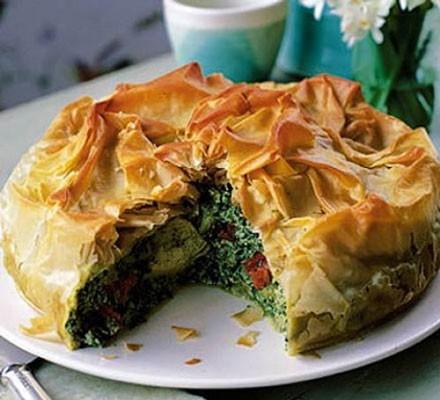 A spinach and artichoke filo pie