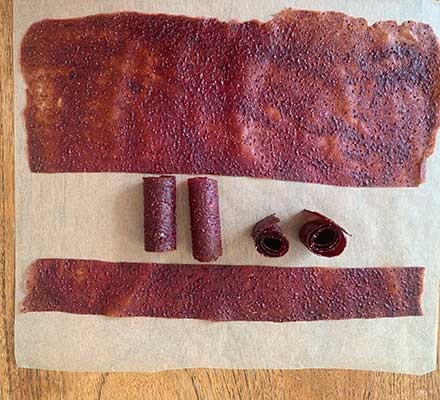 Fruit leather cut into strips
