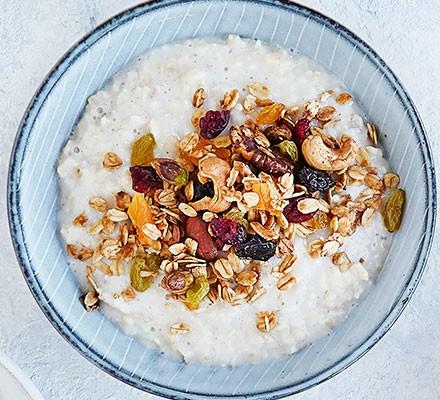 Fruit & nut granola served with porridge