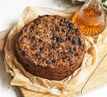 Vegan Christmas cake served on baking parchment