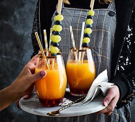 Fruity mocktail served in glasses