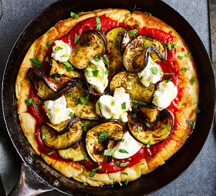 Frying pan pizza with aubergine, ricotta & mint