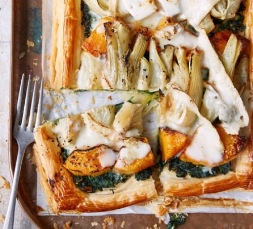 Pumpkin, fennel and taleggio galette corner