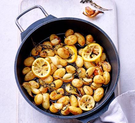 Garlic & lemon thyme poached potatoes