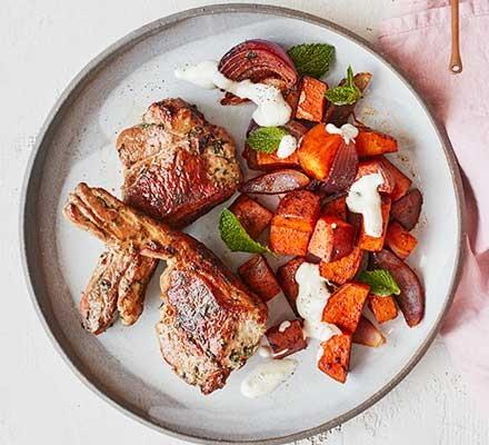 Lamb chops & smoked paprika sweet potatoes served on a plate