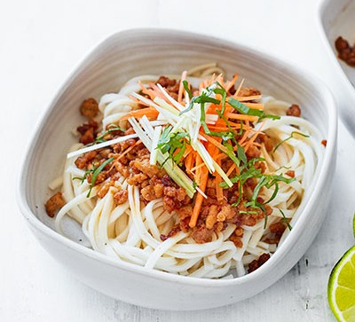 noodles with turkey mince in white bowl