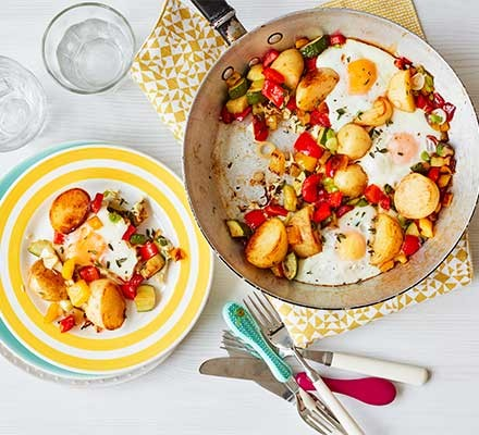 A frying pan with one-pan egg & veg brunch