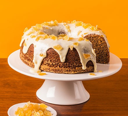Ginger & white chocolate cake served on a cake stand