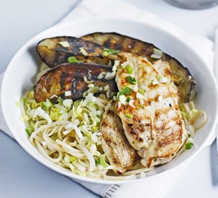 Ginger noodles with chicken & hoisin aubergines