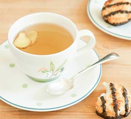 Smoky ginger & honey tea served in a teacup