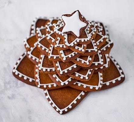 An assembled gingerbread star tree