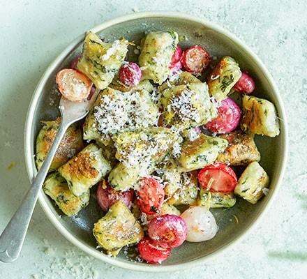 Watercress gnocchi with roasted radishes & lemon