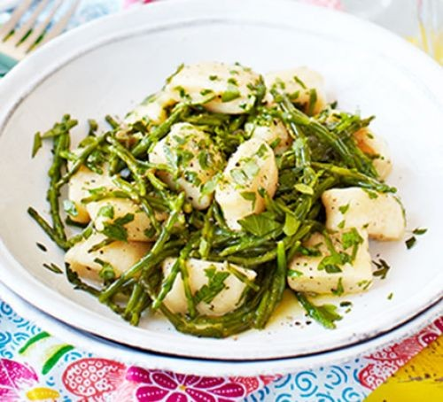 Gnocchi with parsley and samphire