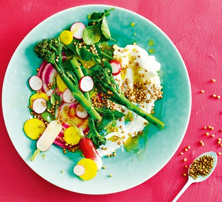 Goat's curd & spring greens salad with popped buckwheat