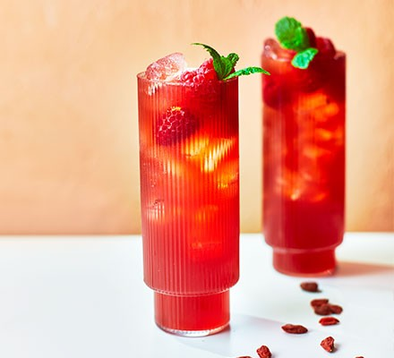 Goji berry & raspberry cooler served in long glasses