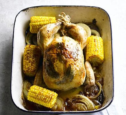 Golden roast chicken with sweetcorn, sage & garlic