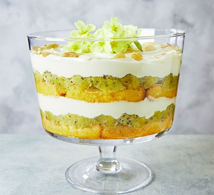 Gooseberry & elderflower trifle served in a trifle bowl