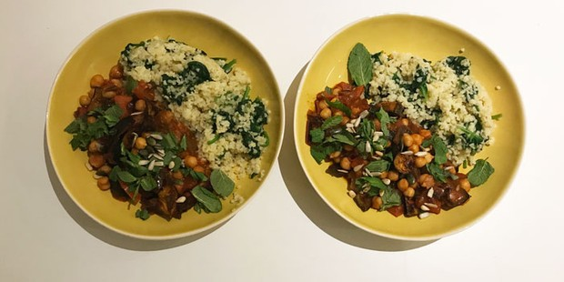 homemade aubergine & chickpea stew with bulgur wheat