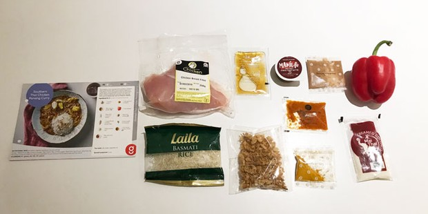 gousto panang recipe card with ingredients