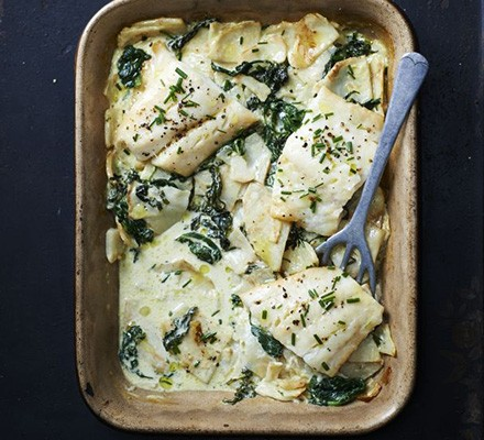 Smoked haddock with celeriac & spinach gratin