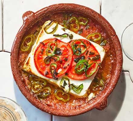 Greek bouyiourdi in a dish