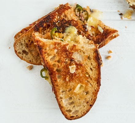 Toasted sandwich with chillies and cheese