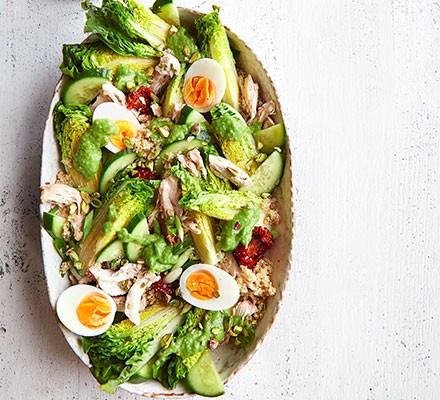 Green goddess chicken salad served on an oval serving plate