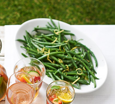 Green beans with mustard, lemon & mint