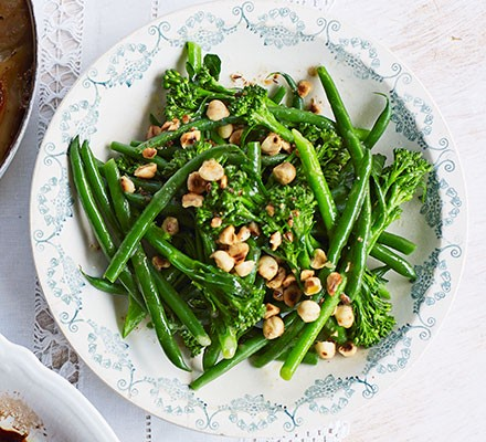 Broccoli & green beans with toasted hazelnut butter