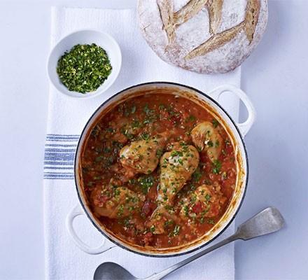 Chicken & lentil stew with gremolata