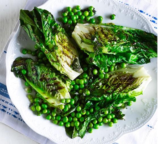 Griddled lettuce & peas