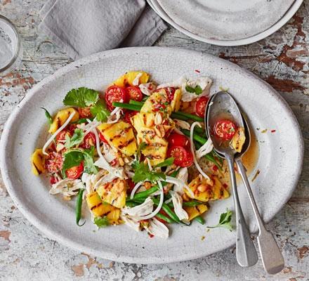 Griddled pineapple & chicken salad with nam jim dressing