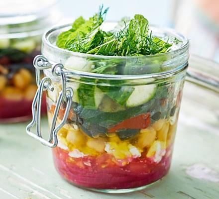 Griddled salad jar