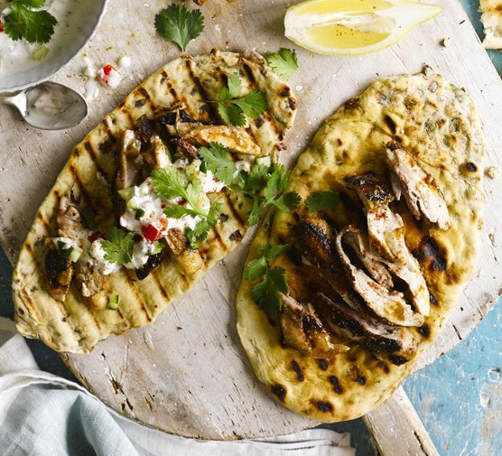 Grilled flaky naans