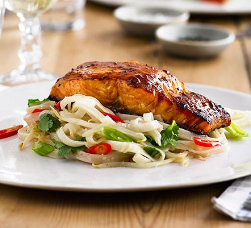 Grilled miso salmon served on top of rice noodles