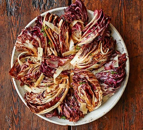 Grilled radicchio leaves on a plate