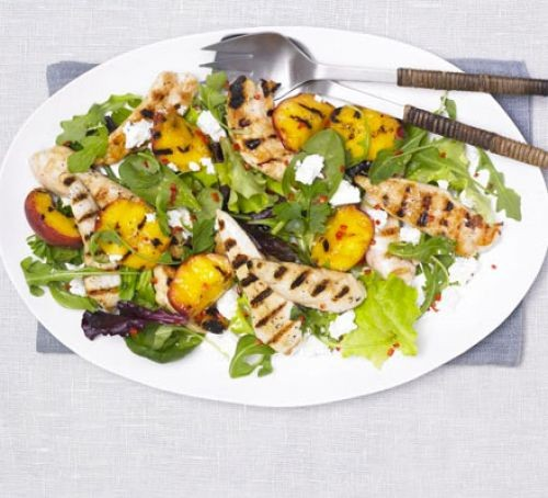 Grilled chicken with peach salad