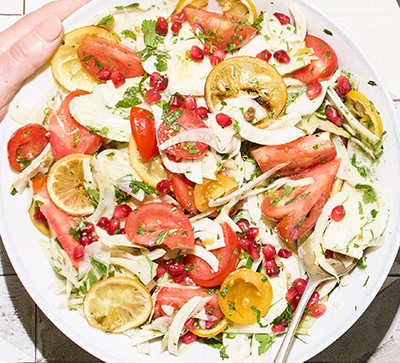 tomato and fennel salad on white plate