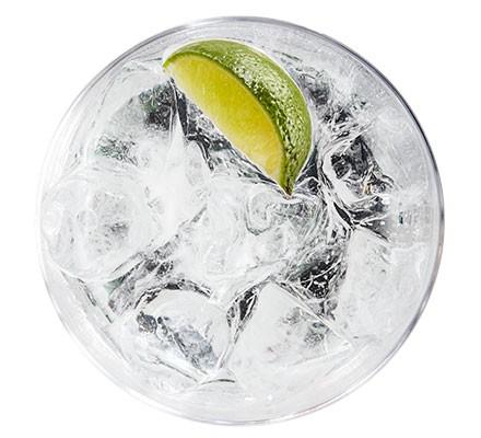 A glass serving a classic G&T