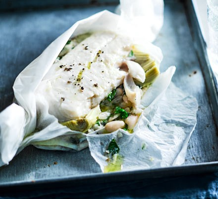 Haddock with cannelloni beans & artichokes
