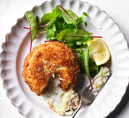 Hake fish cakes with mustard middles