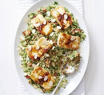 Halloumi with broccoli tabbouleh & honey-harissa dressing