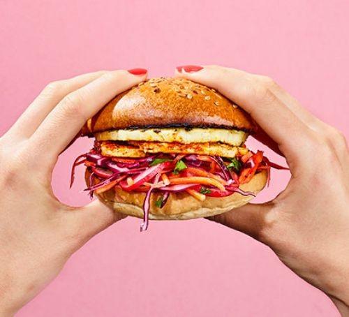 A spiced halloumi and pineapple burger