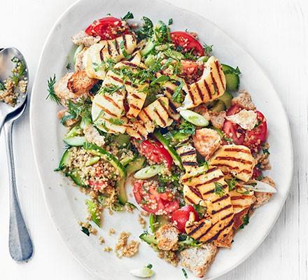 Halloumi & quinoa fattoush served on a plate