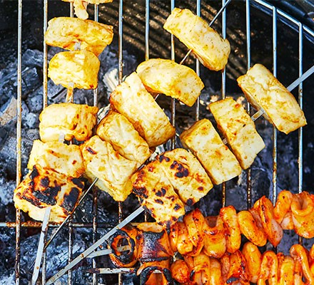 Halloumi skewers on a barbecue