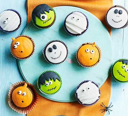 A selection of Halloween cupcakes