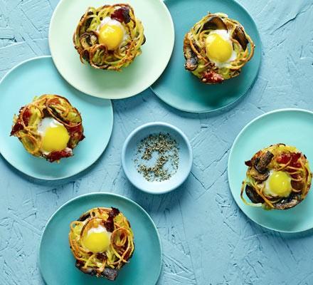 Ham & mushroom potato nests with fried quail's eggs