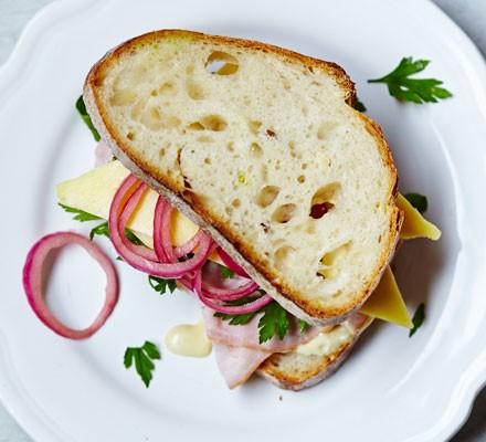 Ham, cheese & homemade pickle bloomer